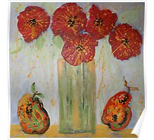 Red Flowers with Pears Poster