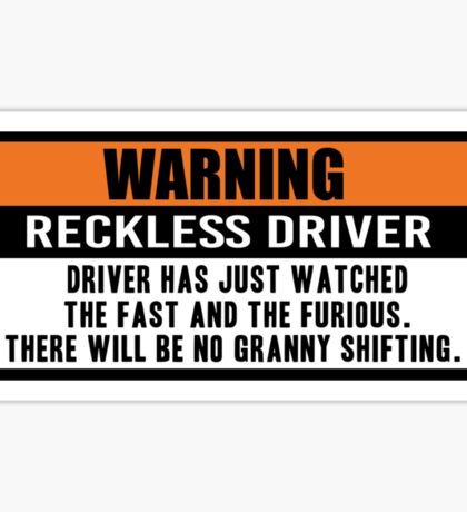 Warning - The fast and the furious Sticker