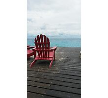 Red Chair in the Sand Photographic Print