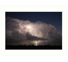 Thunderstorm with Twilight Lightning Art Print