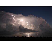 Thunderstorm with Twilight Lightning Photographic Print