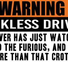 Warning - The fast and the furious 2 Sticker
