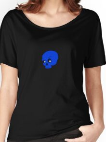 Newsprint Scary Blue Skull Women's Relaxed Fit T-Shirt