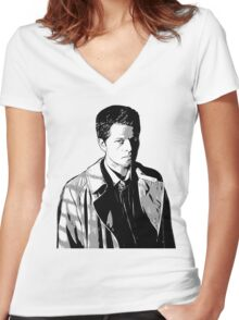 Castiel in the Shadows Women's Fitted V-Neck T-Shirt