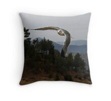 Quick Flight in the Brisk Mountain Air Does a Seagull Good Throw Pillow