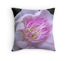 Pink Fringed Peony Throw Pillow