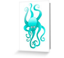 Funny blue octopus Greeting Card