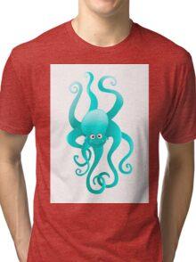 Funny blue octopus Tri-blend T-Shirt
