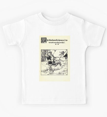 The Wonder Clock Howard Pyle 1915 0333 The Blacksmith Chooses Raven and Runs Away With It Kids Tee