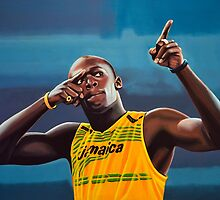 Usain Bolt painting by PaulMeijering