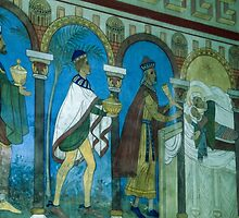 Magi and Mary Reconstructed Wall painting Church Jelling Denmark 198406250023 by Fred Mitchell