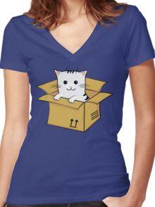 Kawaii Cat In A Box T Shirt Women's Fitted V-Neck T-Shirt
