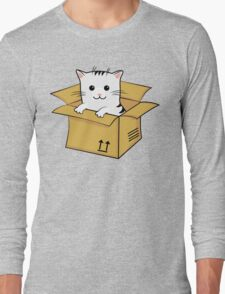 Kawaii Cat In A Box T Shirt Long Sleeve T-Shirt