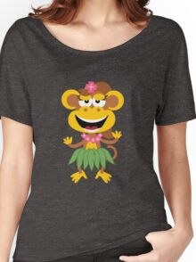 Cute Hawaiian Hula Monkey Women's Relaxed Fit T-Shirt
