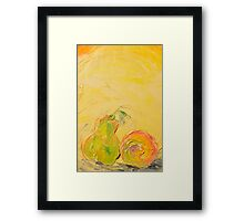 Apple and Pear now friends! Framed Print