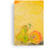 Apple and Pear now friends! Canvas Print