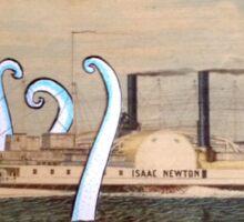 Isaac Newton Octopus and Ship Sticker
