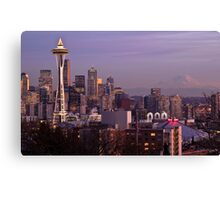 Downtown Seattle at Night - Christmas time (with Mt. Rainier in the distance) Canvas Print