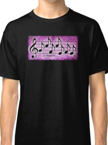 NAMASTE - Words in Music Fuchsia Pink Background - V-Note Creations Classic T-Shirt