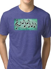 NAMASTE - Words in Music Teal Green  Background - V-Note Creations Tri-blend T-Shirt