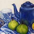 Blue Teapot and Fruit by Joanna Whitton