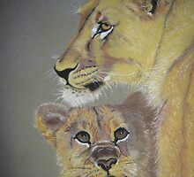 A mother's love - lioness and cub by Cathacat