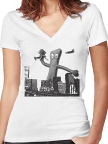 When Gumby Attacks Women's Fitted V-Neck T-Shirt