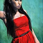 Model No.1 - Model in Red Dress by ForrestFineArts