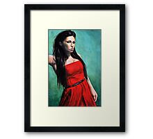 Model No.1 - Model in Red Dress Framed Print