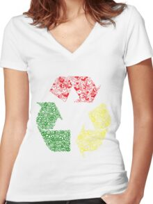 Peace, Love and Happiness Women's Fitted V-Neck T-Shirt