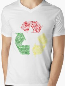 Peace, Love and Happiness Mens V-Neck T-Shirt