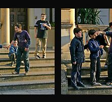 Boys Goofing Around - Maglie Italy by Debbie Pinard