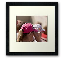 Hat Series - Woman in Hot Pink Cap Framed Print