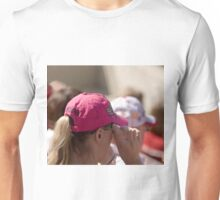 Hat Series - Woman in Hot Pink Cap Unisex T-Shirt