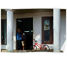 Waiting at the Barbers, Vinales, Cuba Poster