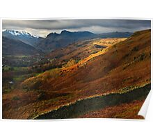 Traces of sunlight in the Langdale valley Poster