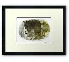 Swirling void of green and black ink  Framed Print