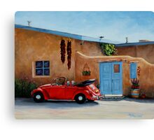 """Cool Ride"" -Classic convertible red VW beetle ready for a ride Canvas Print"