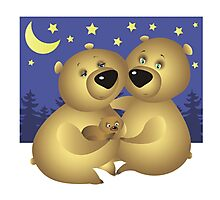 A bear family Photographic Print