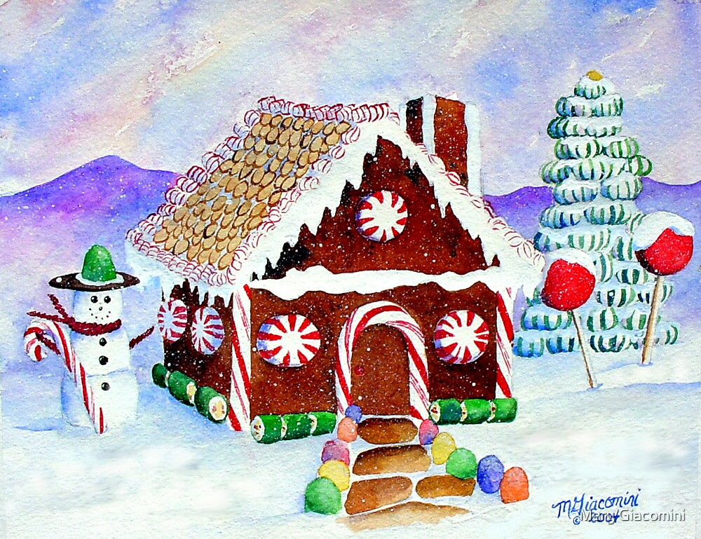 """""""Lisa's Gingerbread House""""-a watercolor painting from a gingerbread house she made by Mary Giacomini"""