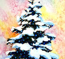 """""""Christmas Tree""""  -watercolor painting of a snowy lit pine tree  by Mary Giacomini"""