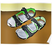 grey and green sandals Poster