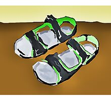 grey and green sandals Photographic Print