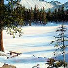 """Nymph Lake"" pastel painting of Longs Peak in Colorado by Mary Giacomini"