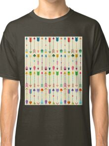 Colorful Tribal Arrows Pattern with Yellow Background Classic T-Shirt