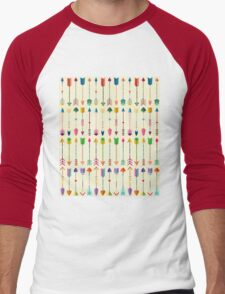 Colorful Tribal Arrows Pattern with Yellow Background Men's Baseball ¾ T-Shirt
