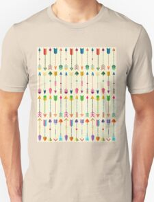 Colorful Tribal Arrows Pattern with Yellow Background T-Shirt