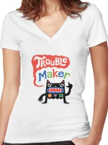 Trouble Maker V - black monster Women's Fitted V-Neck T-Shirt