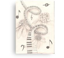 piano keys and rhododendron Canvas Print