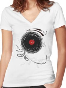 Vinylized! - Vinyl Records  Women's Fitted V-Neck T-Shirt